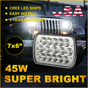 45w 5x7 7x6 Led Headlight Assembly Sealed Beam H4 For Jeep Truck Pickup 7us