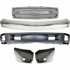 Bumper Kit For 2007 2008 Silverado 1500 Light Duty Front With Fog Light Hole 5pc