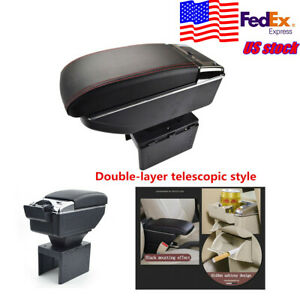 Universal Double layer Telescopic Style Car Central Container Armrest Box Pu Usa