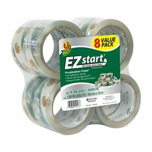 Duck Brand Ez Start Packaging Tape 1 88 Inches X 54 6 Yards Clear 8 Pack 282404