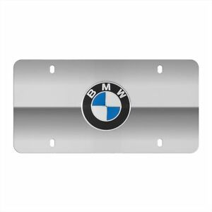 Bmw Polished Silver Marque License Plate With Centered Logo Genuine Oem