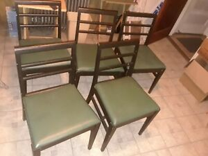 Mid Century Vintage Antique Broyhill Dining Chairs W Green Cushions Set Of 5