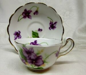 Vintage Miniature Bone China Cup Saucer With Violets Made In England