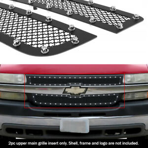Fits 2001 2002 Chevy Silverado 2500hd 3500 Upper Stainless Black Mesh Rivet