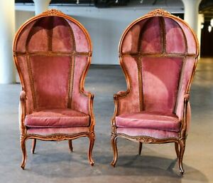 Pair Vintage French Balloon Dome Chairs Cherry Pink Velvet And Down Fabulous