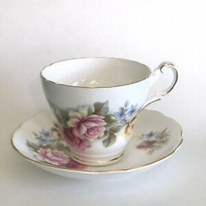 Vintage Regency Cup Saucer Bone China England Pink Blue Yellow Floral