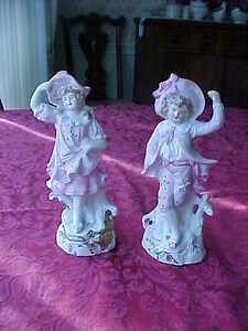 Charming Signed Continental Bisque French Boy And Girl Figurines