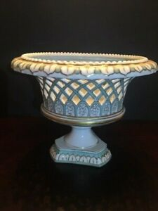 Antique Old Paris Porcelain Reticulated Center Piece Bowl Basket Gold