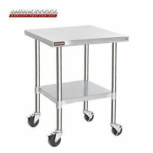 Durasteel Stainless Steel Work Table 30x30 Stable Caster Wheels 300lbs Capacity