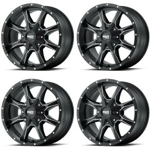 Set 4 22 Moto Metal Mo970 22x12 8x6 5 Black Milled Accents Wheels 44mm Lifted