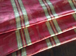 Antique French Silk Stripe Damask Fabric 19thc Napoleon Iii Upholstery Rare