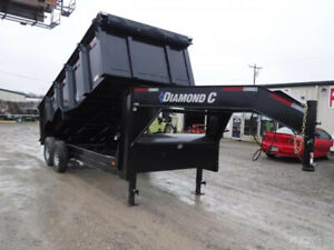 82x16 16ft Diamond C Gooseneck Black 21wdl Heavy Duty Work Dump Steel Trailer