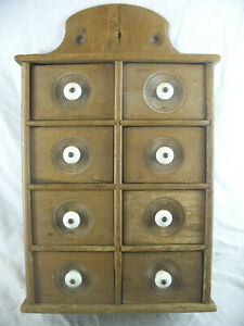 Antique Wood Hanging Wall Apothecary Spice Cabinet Witht 8 Drawers