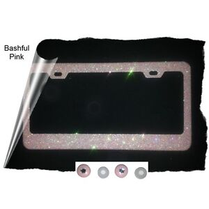Bashful Pink Glitter Sparkle Bling License Plate Frame Rhinestone Covers Kit