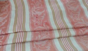 Antique Vintage French Damask Woven Cotton Ticking Fabric Peach Stripe Rare