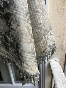 Antique French Silk Stripe Damask Fabric With Silk Tassels 19thc Stunning