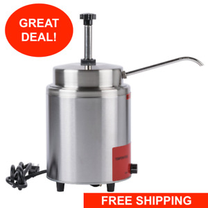 3 5 Qt Electric Countertop Nacho Cheese Sauce Fudge Warmer Pump Dispenser 120 v