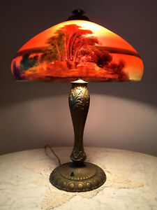 Phoenix Reverse Painted Table Lamp Handel Pairpoint Arts And Crafts Era