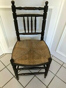 Antique English Jacobean Hand Carved Side Chair With Rush Seat
