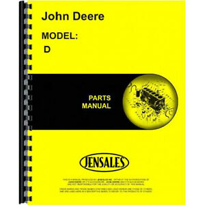 John Deere Styled D Tractor Parts Catalog Manual