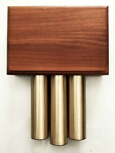 Vtg Mid Century Modern Decorative Wood Door Bell Wall Box Cover Aluminum Chimes