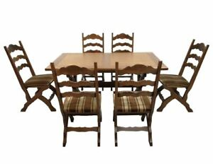 Italian Vintage Dining Table And 6 Ladder Back Dining Chairs 1970s