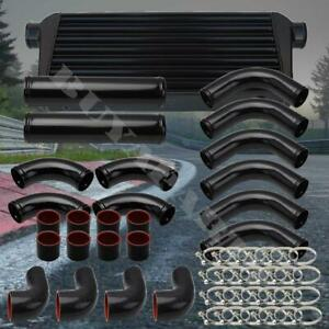 Black 3 Aluminum Intercooler Piping Kit W black Silicone Couplers T clamps