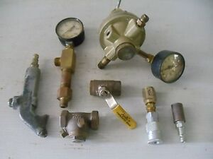 New Used Lot Misc Air Compressor Parts Air Fitting Regulator Gauge