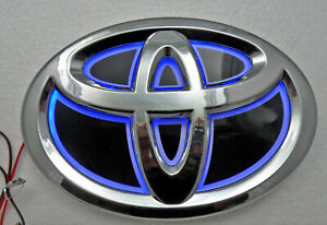 New 5d Chrome Blue Led Oval Badge Emblem Lamp For Toyota Large Free Ship