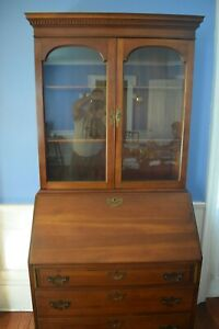 Beautiful Antique Chippendale Cherrywood Secretary Bookcase