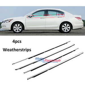 4pcs For Honda Accord 2008 2012 Weatherstrip Window Seal Belt Trim Black Chrome