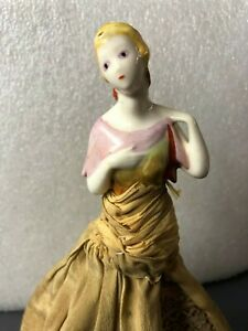 Vintage Beautiful Lady Half Doll W Brown Dress Earrings 11 Antique Porcelain
