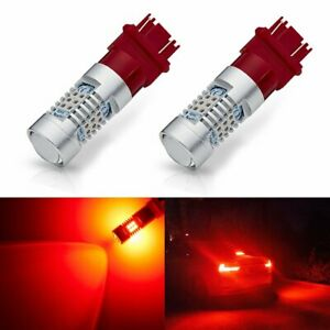 Pair 3057 3156 3157 4057 4157 4114 Red 2835 Led Bulbs Brake Drl Taillight Lamps