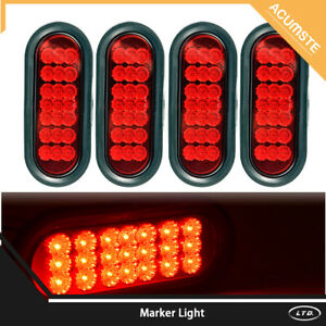 4pc Truck Trailer Red 21 Led Surface Mount 6 Oval Stop Turn Tail Lights Sealed