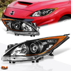 For 10 13 Mazda 3 Projector Headlight lamp Replacement Black Housing Amber Side