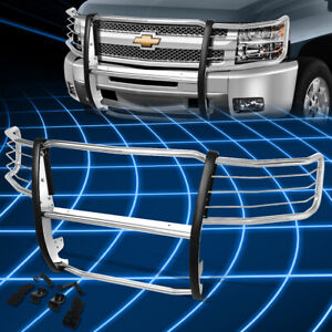 For 07 13 Chevy Silverado Stainless Steel Front Bumper Brush Guard Replacement