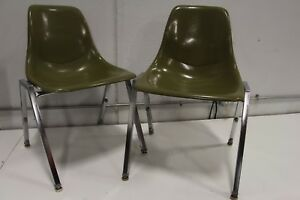 Pair Unit Plastic Inc Fiberglass Side Shell Chair Green Eames Herman Miller Aura