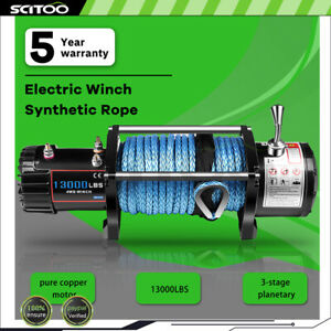 13000lb Electric Winch 85 Synthetic Rope Towing Off road 12000lb For Hummer 12v