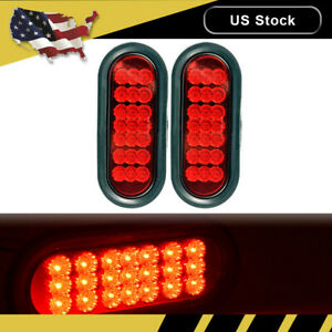 2pcs Red 6 Oval Cree 21 Led Truck Trailer Stop Turn Tail Brake Lights W Grommet