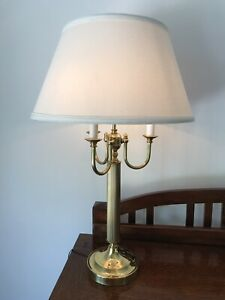 Vintage Three Arm Brass Gold Table Bouillotte Candle Lamp
