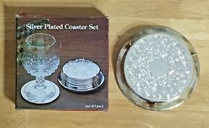 Silver Plated Coasters Set Of Six With Stand And Original Box Never Used