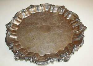 Antique Bailey Banks Biddle 888 Silverplate Serving Platter Tray Scrolls She