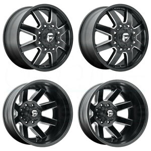 4 New 22 Fuel Maverick D538 Dually Wheels 22x8 25 8x170 125 1 104 8 Black Mille