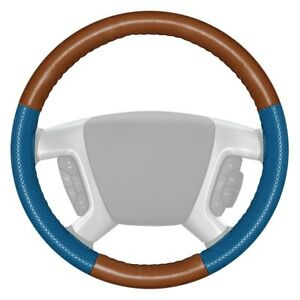 Wheelskins Europerf Perforated Tan Steering Wheel Cover W Sea Blue Sides Color
