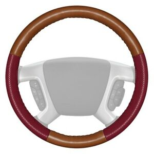 Wheelskins Europerf Perforated Tan Steering Wheel Cover W Burgundy Sides Color