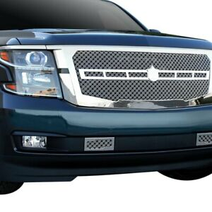 For Chevy Tahoe 15 Grille Kit 3 Pc Luxury Series Chrome Triple Weave Mesh Main
