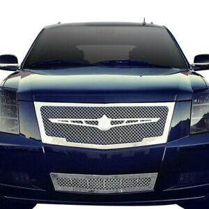 For Cadillac Escalade 07 14 5 Pc Luxury Series Chrome Dual Weave Mesh Grille Kit