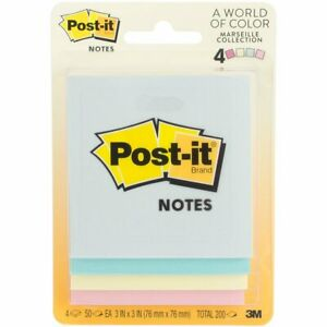 Post it Notes 3 X 3 Pastel Pads Self adhesive Assorted Color 50 Count 3 Pack