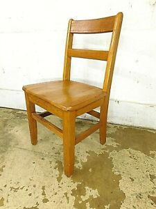1950s Vintage School House Childs Oak 16 Seat Tall Side Chair Good