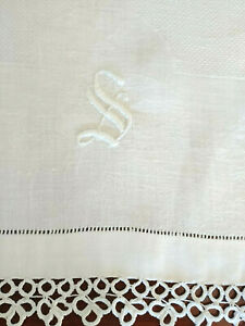 Fab Linen Huck Damask S Monogram 16 X30 Show Guest Towel Wide Tatting Ends Fres
